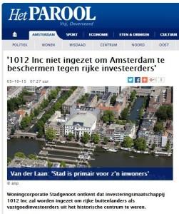 Parool 1012 niet ingezet om Amsterdam te beschermen tegen rijke investeerders